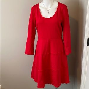 NWOT Kate Spade Red Scallop Ponte Dress
